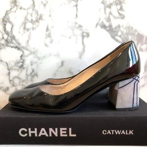Peter Kaiser Black patent block heels